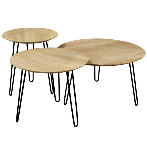 Table Basse Gigogne Ronde En Bois De Manguier Lot De 3 Rdv Destock