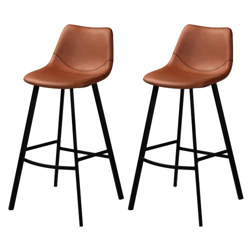 Chaise De Bar Vintage En Cuir Marron Ou Gris Synthetique Rdv Destock